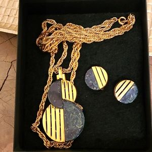 Vintage Trifari Necklace and Clip on earring set